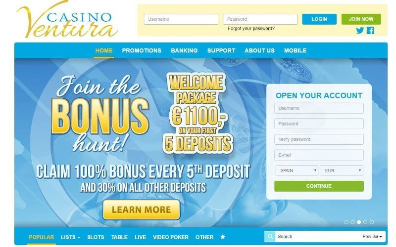 Casino Ventura bonus page