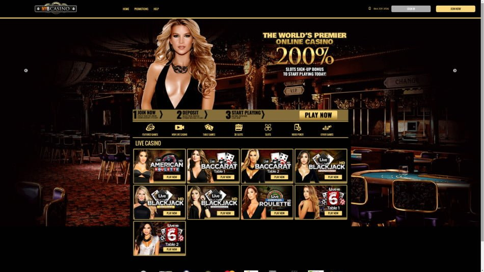 myb casino home page with games