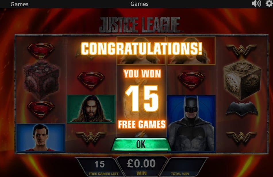 justice league slot win