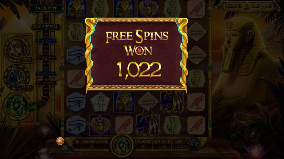 legend of the nile slot free spins won