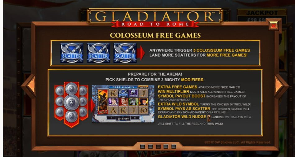 gladiator road to rome slot by playtech
