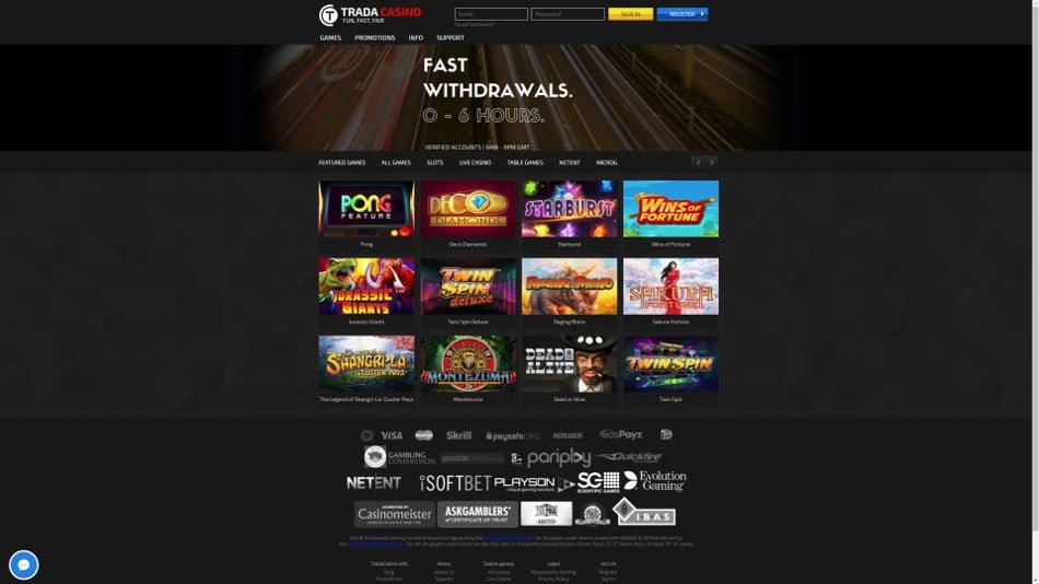 trada casino gome page