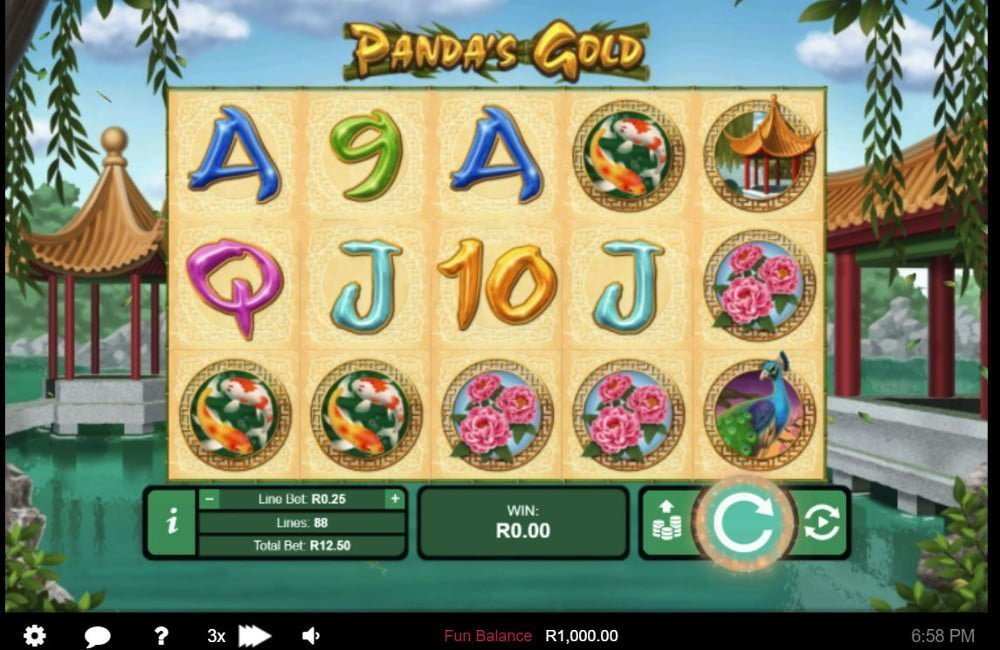 pandas gold slot by real time gaming (RTG)