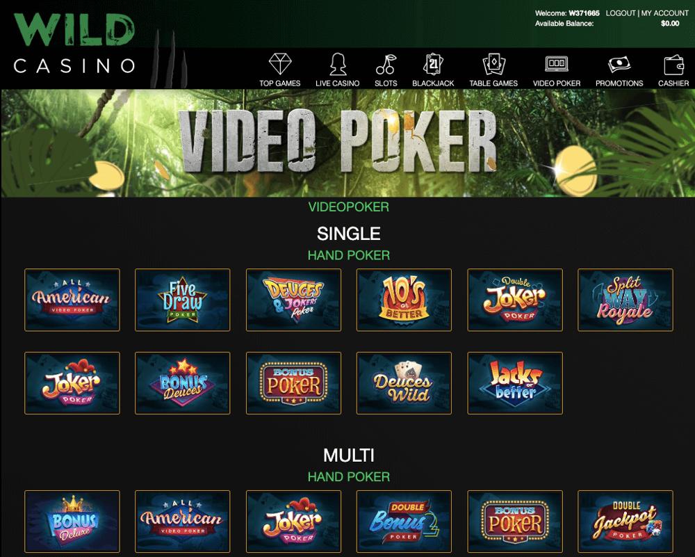 wild casino video poker