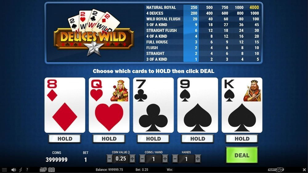 deuces wild video poker strategy