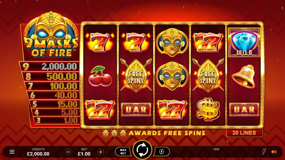 9 masks of fire slot by microgaming