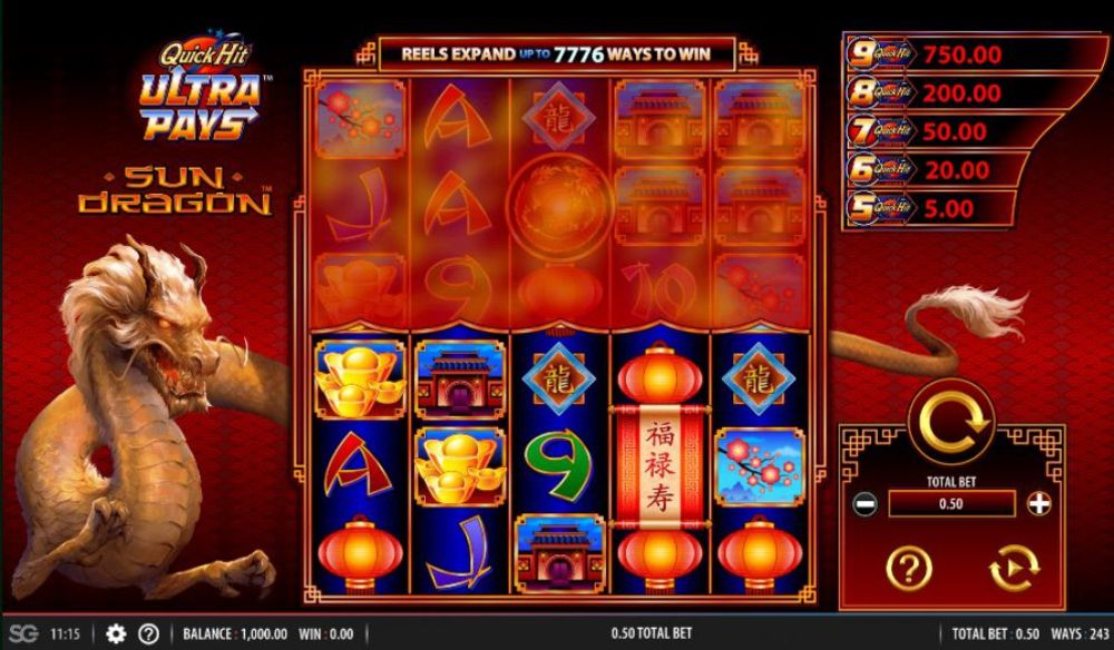 quick hit ultra pays sun dragon slot by bally