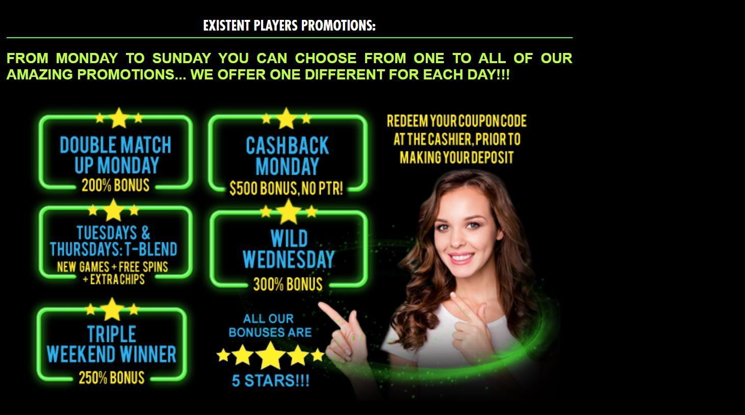 акции казино Вегаса