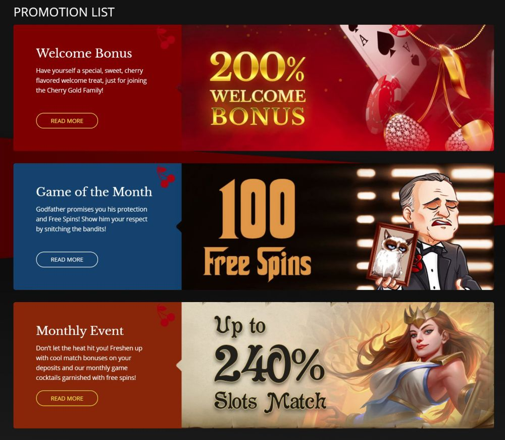 promotion bonuses cherry gold casino