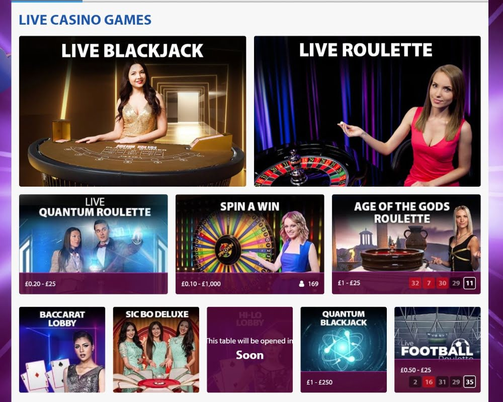 llive casino offering fro9m BGO Casino