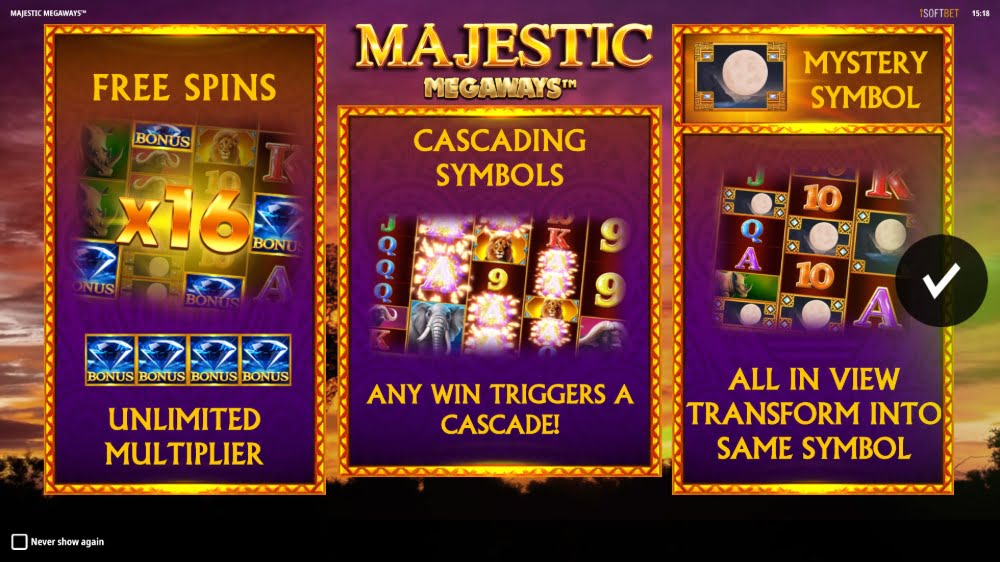 majestic megaways slot by isoftbet