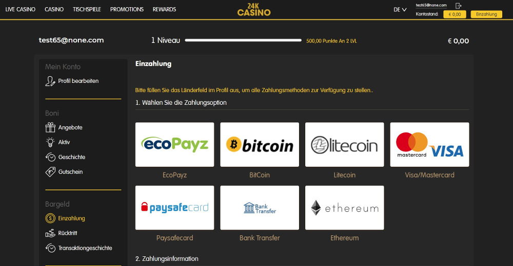 german online casino banking methods