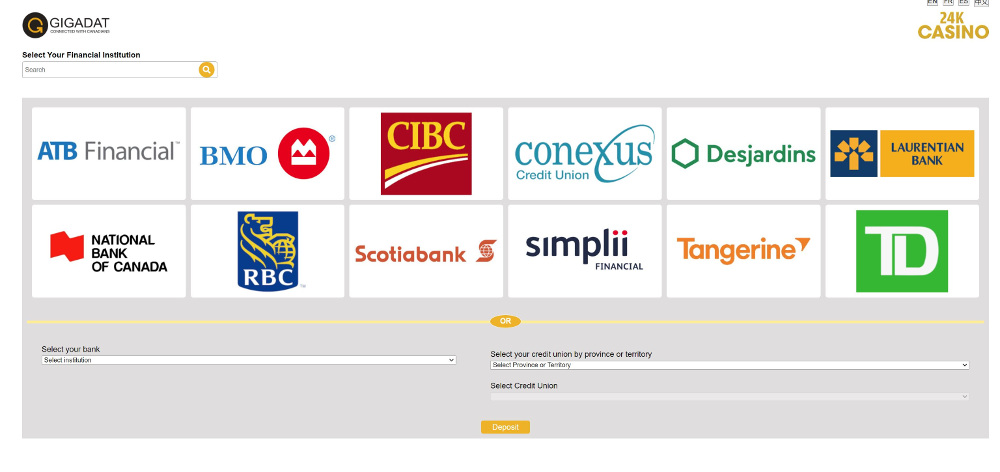 interac being used at the casino