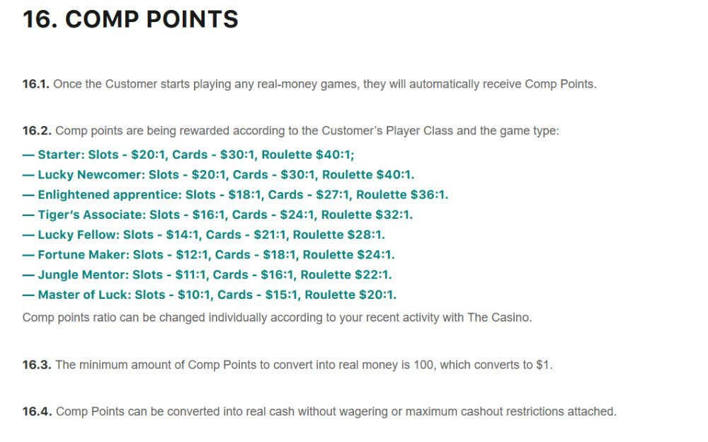comp points for real money slots