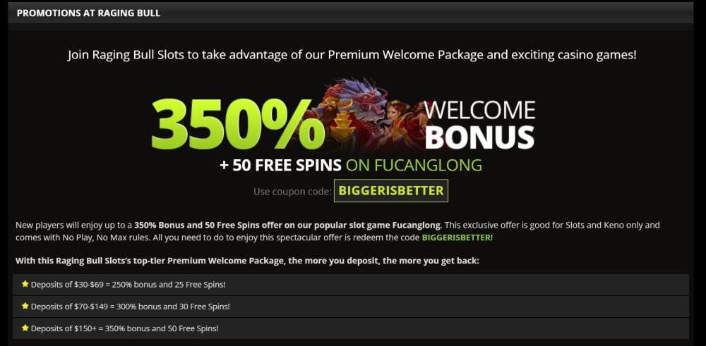raging bull casino promotions bonus