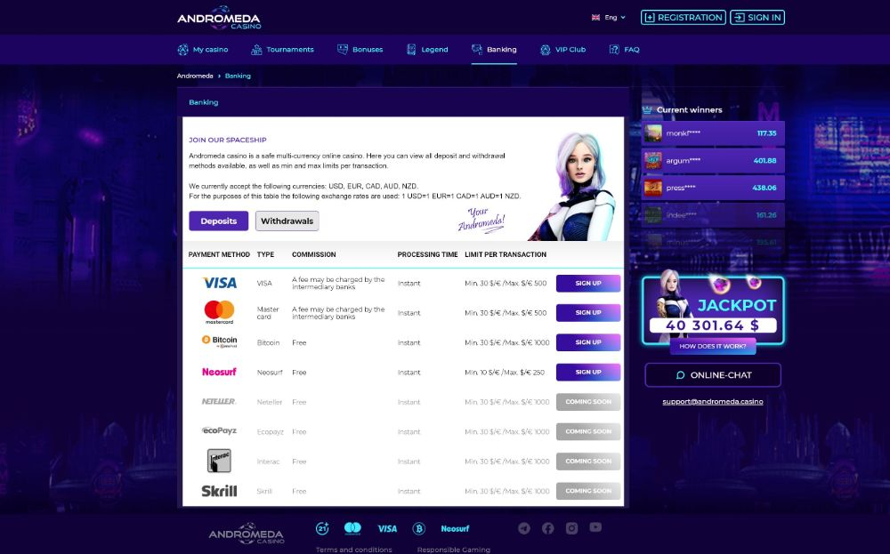 andromeda casino paout methods